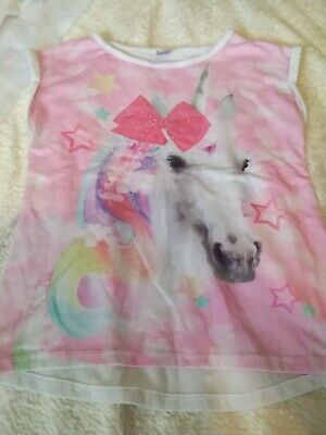 girls pink top with house on size 9 years brand tu