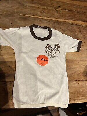Vintage 70's Children's White & Brown Mickey Mouse T Shirt Age 4/5 deadstock