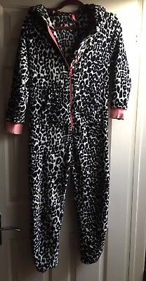 NEXT Girls Panther Fleece Hooded Jump Suit  95% Cotton Age11/146cm