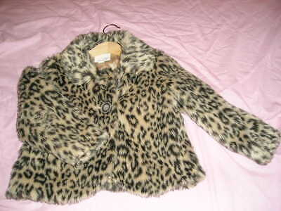 Next Bolero Style Girls Leopard Print Faux Fur Jacket Age 4-5 Years  Ideal For A