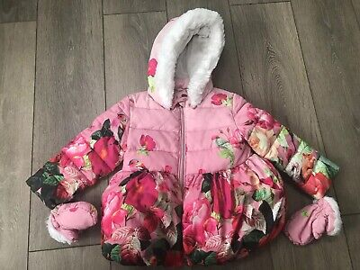 Girls Ted Baker Floral Winter Coat And Mittens Age 3-4 Years