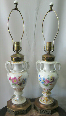 Beautiful Antique Meissen Serpent Urn Lamps Pair