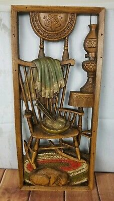 Vintage 1965 Burwood Wall Plaque Art Rocking Chair w Cat  & Afghan Colorized