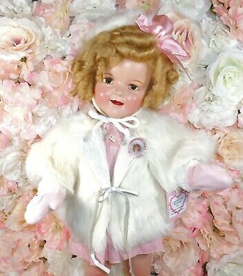 "22"" SHIRLEY TEMPLE Ideal doll 1930's COMPOSITION Fur coat & dimity dress SWEET"