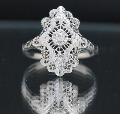 ART DECO 1920's ERA NATURAL DIAMOND 14k WHITE GOLD FILIGREE NORTH & SOUTH RING
