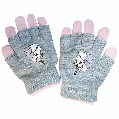 Girls Kids Children Unicorn Winter Warm Gloves