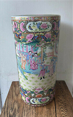 Vintage Signed Chinese Porcelain Famille Rose Medallion Umbrella Stand Pot 18.5""