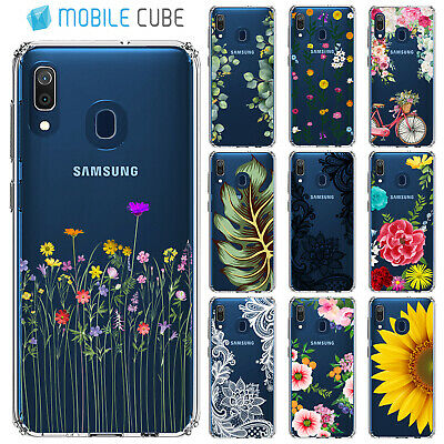 Samsung Galaxy A20 A30 A50 A70 Case Flower Floral Leaves Lace Slim Tough Cover