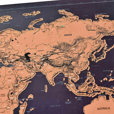 Deluxe Scratch Off World Map Poster Journal Log Giant Of The World Gift Map