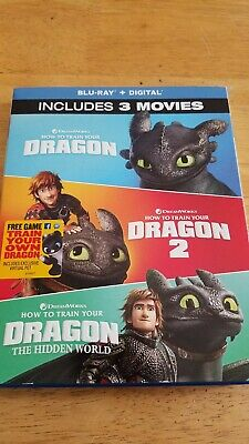 How to Train Your Dragon Trilogy: 3-Movie Collection (Blu-ray, 2019) No Digital