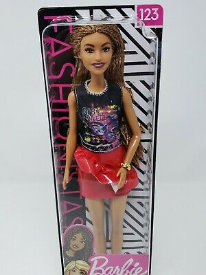 Barbie Fashionistas Tall Doll #123 Braided Hair. Girl Power Top. Red Skirt NEW