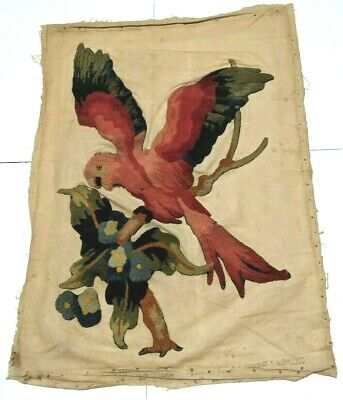 Vintage Parrot Bird Flower Hooked Embroidery Tapestry Columbia Hook Relief