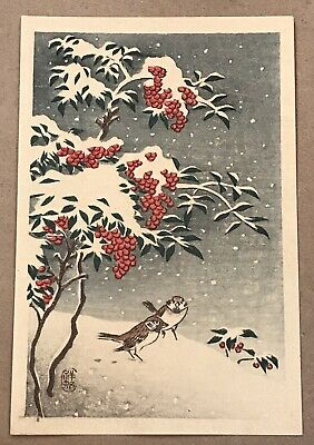 "Ohara Koson ""Sparrows in Snow"" Japanese Woodblock Print c.1930s"