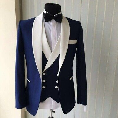 Men Suits Navy Blue Shawl Lapel Tuxedos Groom Wedding Prom Formal Party Suit