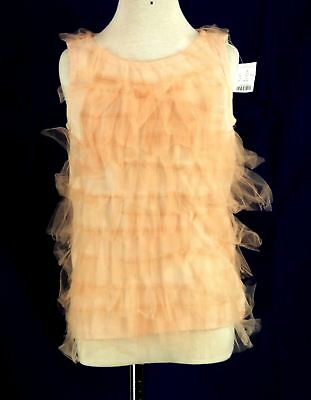 311 NWT Crewcuts J.crew girl salmon pink MESH ruffle sleeveless top blouse Sz 8Y
