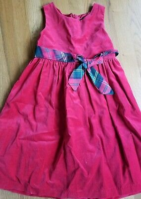 George Girls Red Velvet Christmas Holiday Party Dress Lined Size 8 Plaid Ribbon