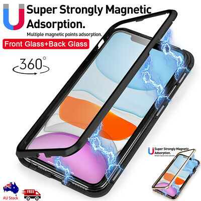 360° Full Magnetic Tempered Glass Metal Case Cover iPhone 11 Pro XS Max XR X 7 8