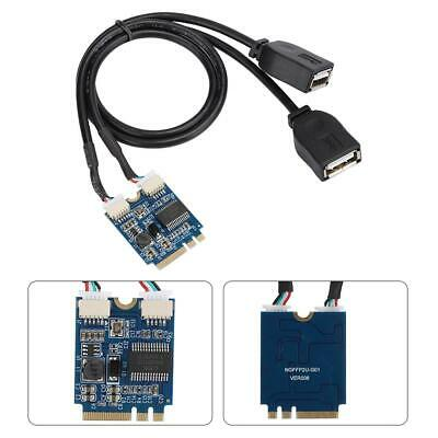 M.2 NGFF KEY A-E to Dual Port USB 2.0 Expansion Card Converter Cable Adapter NEW