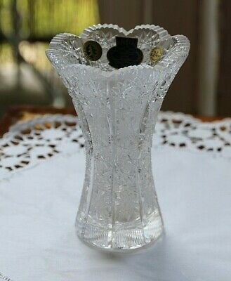 Bohemian Hand-Cut 24% Lead Crystal Glass Vase Star Pattern - Sticker