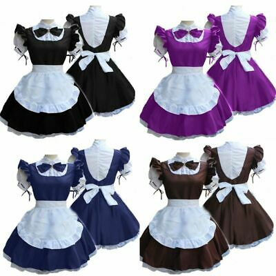 Women Lady Short Sleeve Doll Collar Retro Maid Dress French Maid Outfit Cosplay