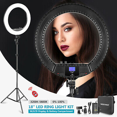 Neewer 18-inch LED Ring Light with LCD Display and Battery Holder, Stand and Bag