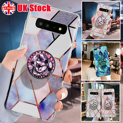 Geometric Marble Case For Samsung S8 S9 S10 Plus A20e With Stand Holders Socket