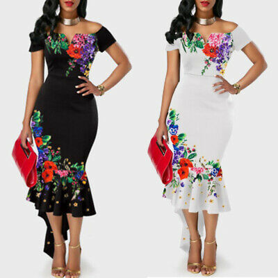 Womens Floral Print Off Shoulder Irregular Bodycon Slim Fit Cocktail Party Dress
