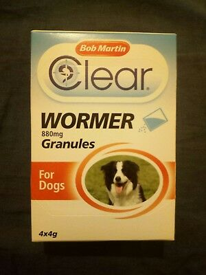 Bob martin  clear wormer 880 mg granules for dogs 4x4g free post
