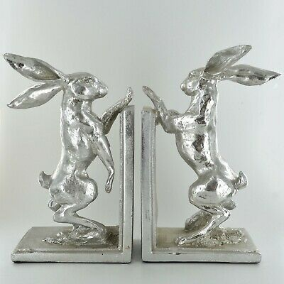 Silver Effect Hare Bookends Shelf Tidy Home Decor Gift Ideas Countryside 39925