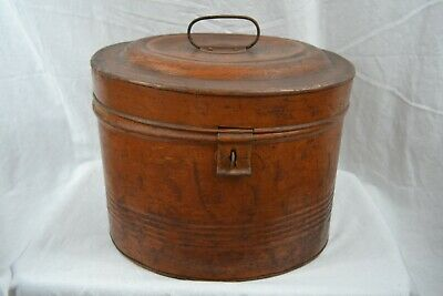 VINTAGE 1920s enamelled tin hat box travelling with retailers label LARGE