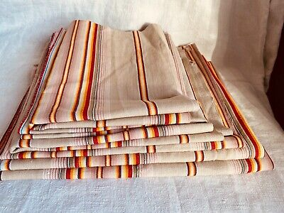 Antique Fabric Ticking Vintage Remnants Red Pink Yellow Home Decor Projects /6pc