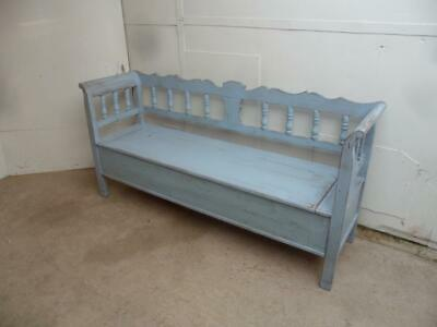 A Superbly Painted Sky Blue Antique Old/Pine 3 Seater Box Settle/Bench