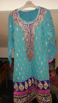 BNew 3p Ladies Shalwar Kameez in Blue Size S. Ready made india