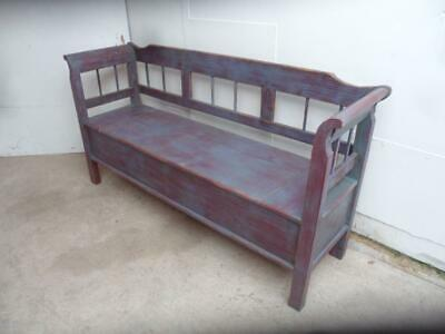 A Grey & Maroon Antique Old/Pine Painted 3 Seater Box Settle/Bench