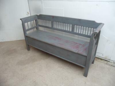 A Fabulous Grey & Maroon Antique Old/Pine Painted 3 Seater Box Settle/Bench