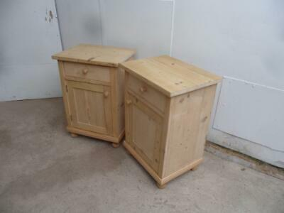 A Lovely Square Pair of Antique/Old Pine Victorian Bedside Cabinets to Wax/Paint