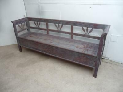 A Large Antique Old/Pine Painted 4 Seater Grey & Maroon Box Settle/Bench