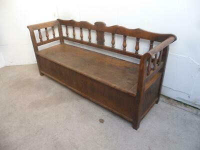 An Originally Painted Antique Old/Pine 3 Seater Victorian Box Settle/Bench