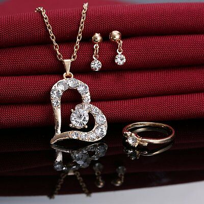 Women Heart Love Jewellery Set Crystal Necklace Bridesmaid Prom Earrings Ring