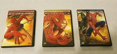 Spiderman 1, 2 & 3 Triology WS DVD Collection 3 Movies VG