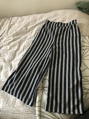 Girls New Look Party Trousers Stripe Cropped Age 10/11