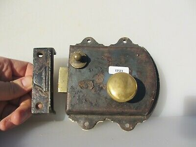 Antique Iron Door Lock Bolt Brass Handle Knob Old Bathroom WC Bolt Vintage 1909