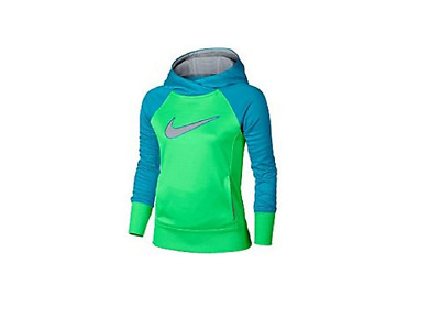 Nike Little Girls' Therma-Fit Hoodie Green/Blue/Grey Size XS