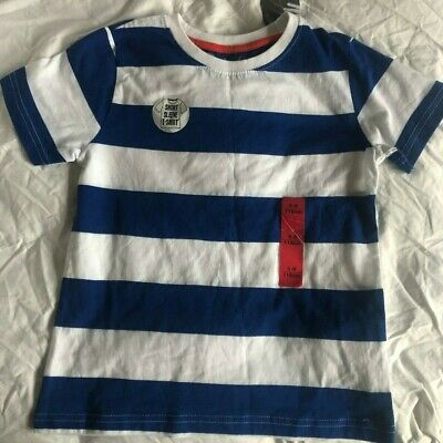 New, Tagged, Boys Blue and White Striped Tshirt - age 5 to 6 years