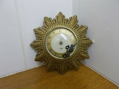Vintage Smiths  Gold Sunburst 1950s / 60s Wall-Mounted Clock, not working