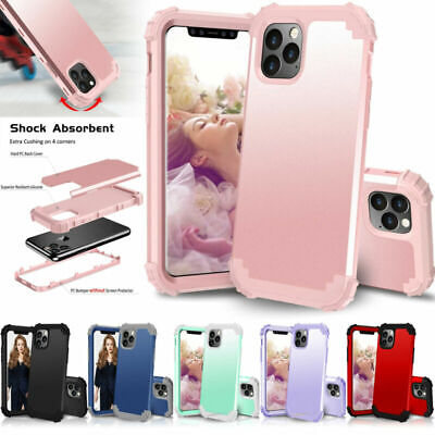 For iPhone 11 Pro Max XS 8 7+ Rubber Shock proof Heavy Duty Hard Back Case Cover