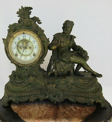 Fine 19Th  Antique Ansonia Figural Spelter Clock