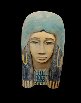 Large Wooden Mask Egyptian Woman Ancient Statue Bust Figurine Bead Sculpture