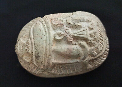Unique Scarab Egyptian Ancient Stone Bead Carved Rare Ankh Artifact Faience