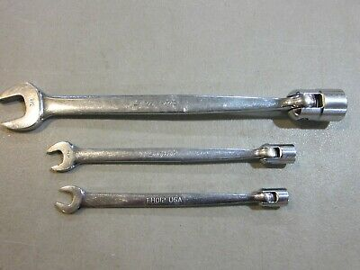 Snap-On  3 Pc  Sae 12 Point Flex Head Open End Wrench - Fho12, Fho14, Fho24